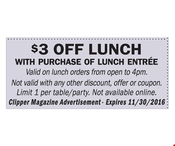 $3 off lunch