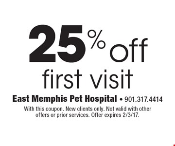 25% off first visit. With this coupon. New clients only. Not valid with other offers or prior services. Offer expires 2/3/17.