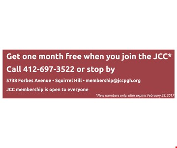 Get one month free when you join the JCC.