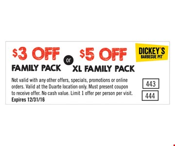$3 off family pack or $5 off XL family pack. Expires 12/31/16.