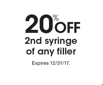20% off 2nd syringe of any filler.