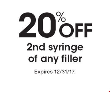 20% off 2nd syringe of any filler