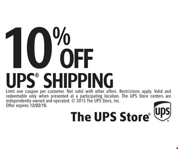 10% off UPS shipping