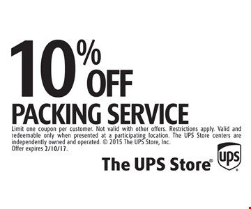 10% off packing service