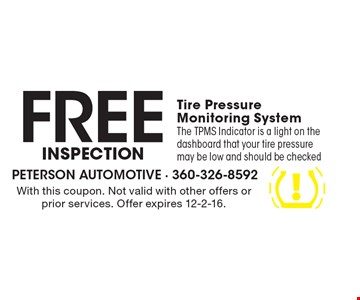 inspection Free Tire Pressure Monitoring System The TPMS Indicator is a light on the dashboard that your tire pressure may be low and should be checked. With this coupon. Not valid with other offers or prior services. Offer expires 12-2-16.