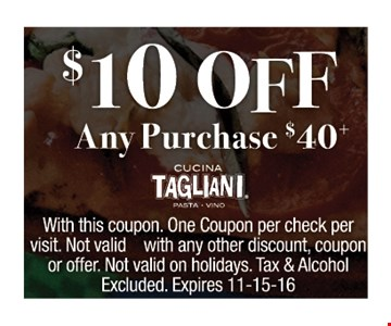 $10 off any purchase of $40
