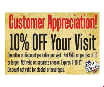 Customer Appreciation 10% Off Your Visit