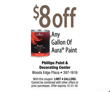 $8 off any gallon of Aura paint