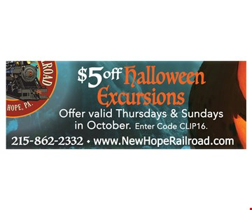 $5 off halloween excursions