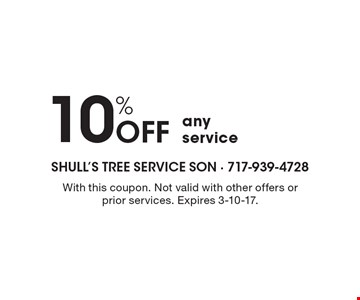10% Off any service. With this coupon. Not valid with other offers or prior services. Expires 3-10-17.
