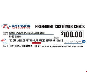 10% Off Labor On Any Regular Priced Repair Or Service Up To $100.00. OCT/DEC CLIPPER