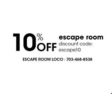 10% Off escape room discount code:escape10.