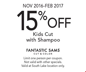 Nov 2016-Feb 2017. 15% off Kids Cut with Shampoo. Limit one person per coupon. Not valid with other specials. Valid at South Lake location only.