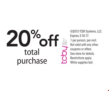 20% off total purchase. 2013 TCBY Systems, LLC. Expires 3-10-17.1 per person, per visit. Not valid with any other coupons or offers. See store for details. Restrictions apply. While supplies last.