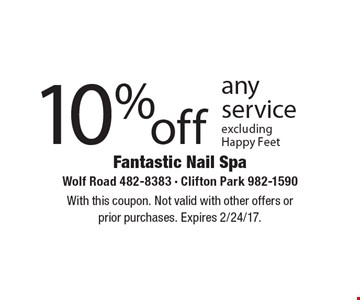 10% off any service. Excluding Happy Feet. With this coupon. Not valid with other offers or prior purchases. Expires 2/24/17.
