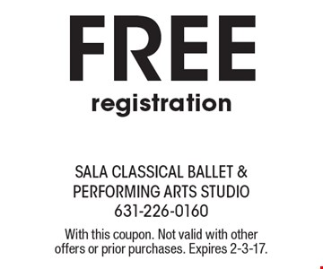 free registration. With this coupon. Not valid with other offers or prior purchases. Expires 2-3-17.