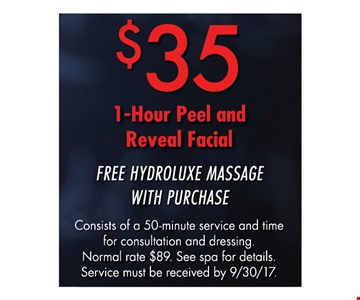 $35 1 Hour Peel and Reveal Facial