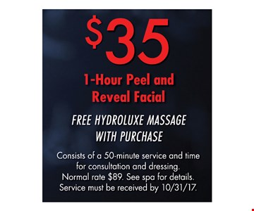 $35 1 - Hour  Peel and Reveal Facial