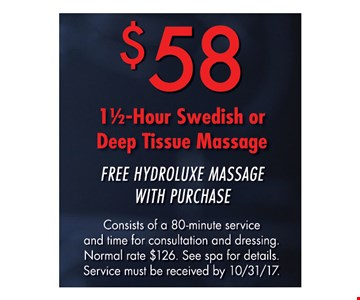 $58 1 and a 1/2 Hour Swedish or Deep Tissue Massage