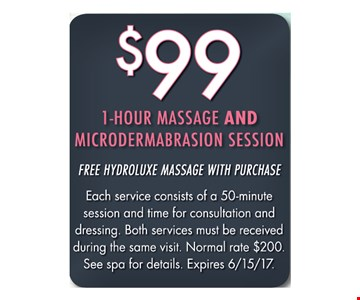 $99 1 hour massage and microdermabrasion session