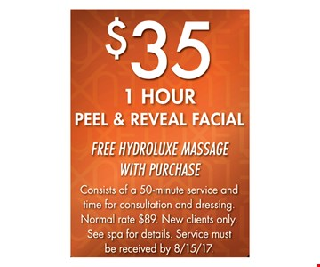 $35 1-Hour Peel & Reveal Facial