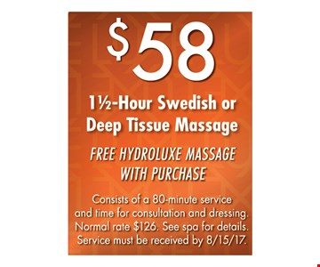 $58 1 1/2 -Hour Swedish or Deep Tissue Massage