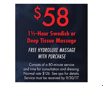 $58 1 1/2 hour Swedish or Deep tissue Massage