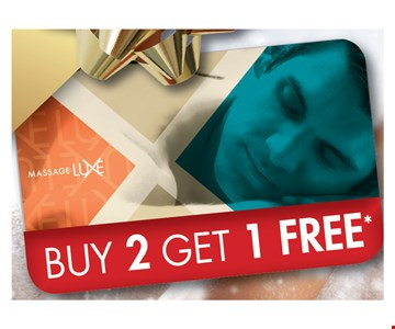 Buy 2 Gift Cards Get 1 Free (must total $150)