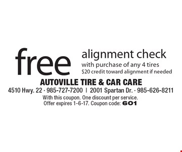 Free alignment check with purchase of any 4 tires $20 credit toward alignment if needed. With this coupon. One discount per service. Offer expires 1-6-17. Coupon code: 601