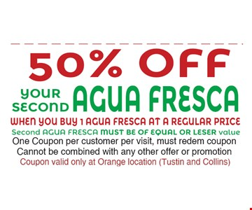50% off your second Agua Fresca