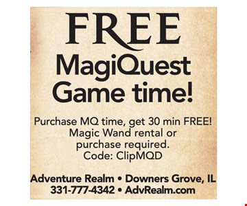 Free MagiQuest game time! Purchase MQ time, get 30 min FREE! Magic Wand rental or purchase required. Code: ClipMQD