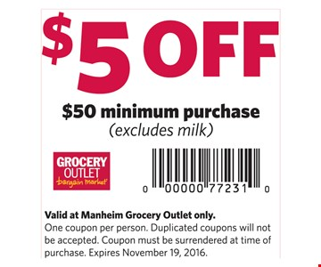 $5 Off $50 Minimum purchase