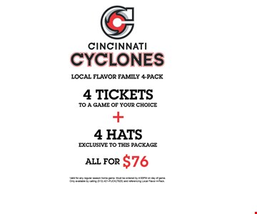 4 Tickets + 4 Hats All For $76