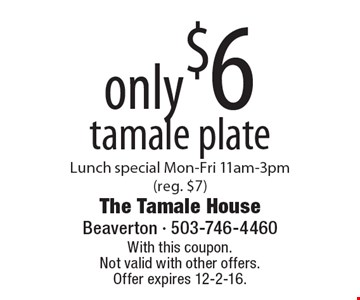 Only $6 tamale plate. Lunch special Mon-Fri 11am-3pm (reg. $7). With this coupon. Not valid with other offers. Offer expires 12-2-16.