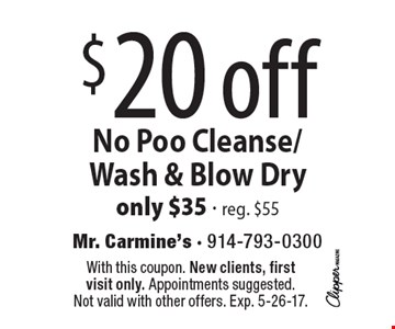 $20 off No Poo Cleanse/ Wash & Blow Dry only $35 - reg. $55. With this coupon. New clients, first visit only. Appointments suggested. Not valid with other offers. Exp. 5-26-17.