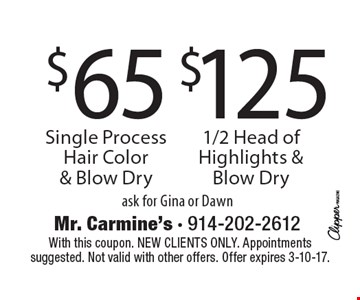 $65 Single Process Hair Color & Blow Dry. $125 1/2 Head of Highlights & Blow Dry. Ask for Gina or Dawn. With this coupon. New clients only. Appointments suggested. Not valid with other offers. Offer expires 3-10-17.