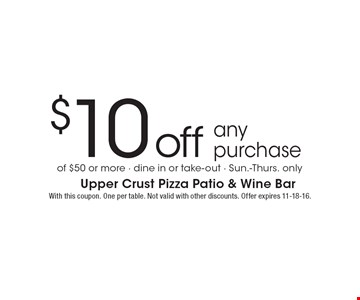 $10 off any purchase of $50 or more. Dine in or take-out. Sun.-Thurs. only. With this coupon. One per table. Not valid with other discounts. Offer expires 11-18-16.