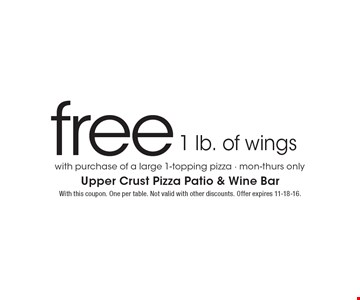 Free 1 lb. of wings with purchase of a large 1-topping pizza. Mon-Thurs only. With this coupon. One per table. Not valid with other discounts. Offer expires 11-18-16.