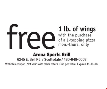 Free 1 lb. of wings with the purchase of a 1-topping pizza. Mon.-Thurs. only. With this coupon. Not valid with other offers. One per table. Expires 11-18-16.