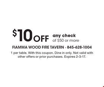 $10 OFF any check of $50 or more. 1 per table. With this coupon. Dine in only. Not valid with other offers or prior purchases. Expires 2-3-17.