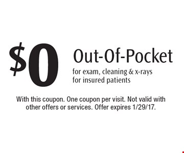 $0 Out-Of-Pocket for exam, cleaning & x-rays for insured patients. With this coupon. One coupon per visit. Not valid with other offers or services. Offer expires 1/29/17.