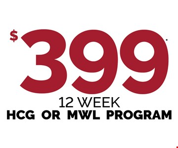 $399 12 Week HCG Or MWL Program