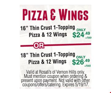 Pizza & Wings Up to $26.49