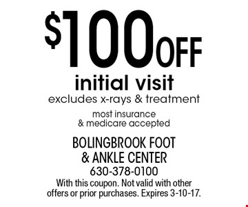 $100 Off initial visit excludes x-rays & treatment most insurance & medicare accepted. With this coupon. Not valid with other offers or prior purchases. Expires 3-10-17.