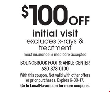 $100 OFF initial visit. Excludes x-rays & treatment. Most insurance & medicare accepted. With this coupon. Not valid with other offers or prior purchases. Expires 6-30-17. Go to LocalFlavor.com for more coupons.