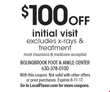 $100 OFF initial visit. Excludes x-rays & treatment. Most insurance & medicare accepted. With this coupon. Not valid with other offers or prior purchases. Expires 8-11-17. Go to LocalFlavor.com for more coupons.