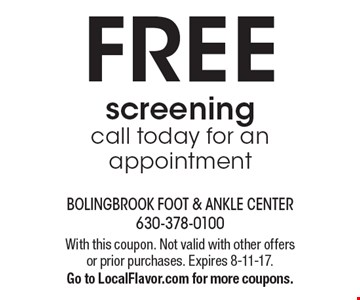 FREE screening. call today for an appointment. With this coupon. Not valid with other offers or prior purchases. Expires 8-11-17. Go to LocalFlavor.com for more coupons.
