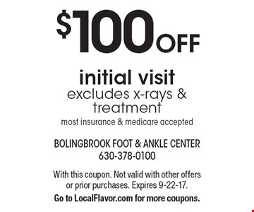 $100 OFF initial visit. Excludes x-rays & treatment. Most insurance & medicare accepted. With this coupon. Not valid with other offers or prior purchases. Expires 9-22-17. Go to LocalFlavor.com for more coupons.