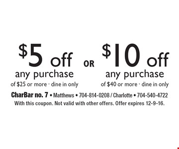 $5 off any purchase of $25 or more OR $10 off any purchase of $40 or more. Dine in only. With this coupon. Not valid with other offers. Offer expires 12-9-16.