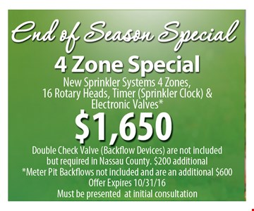 4 Zone Special $1,650